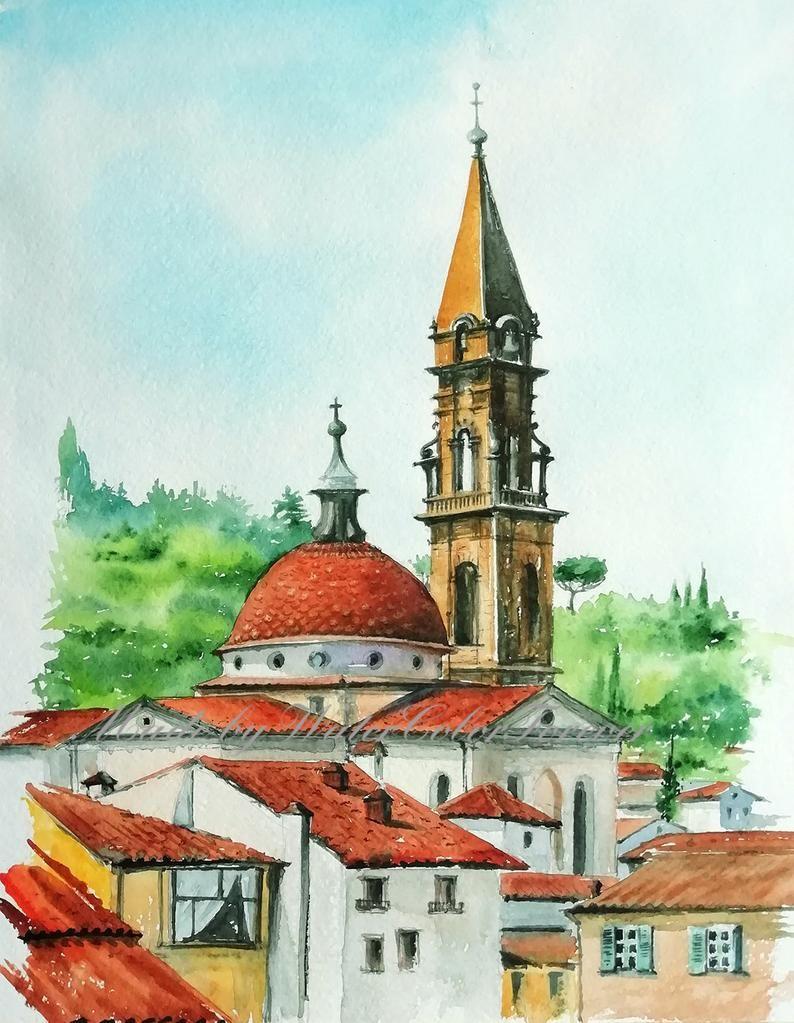 Original Peinture Aquarelle Firenze Florence Ville Urbain Tuiles