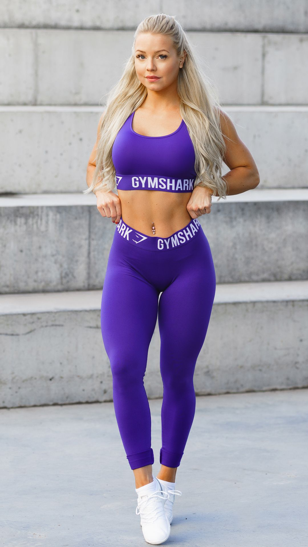 f791188d218f3 Denice Moberg sporting the new Gymshark Fit Leggings and Sports Bra in  Indigo and White.