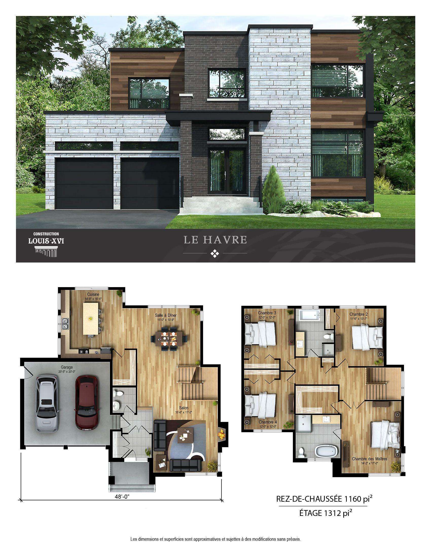 Maisons neuves avec toits plats à vendre Construction Louis Seize