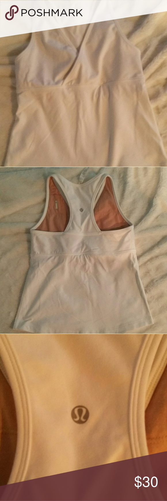 Lululemon Athletica Wet dry warm tank  Deep vee White  Size 10 Excellent condition  Never warn lululemon athletica Tops