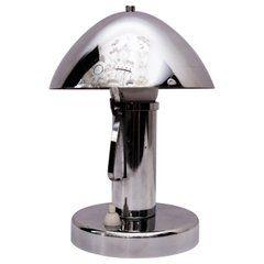 Art Deco Chrome Table Lamp with Tiltable Shade, circa 1920s