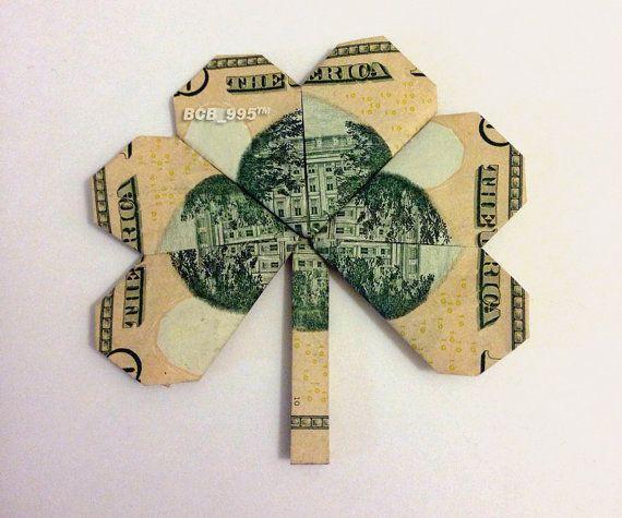 SHAMROCK LEAF Money Origami Dollar Bill Clover Plant Cash ... - photo#16