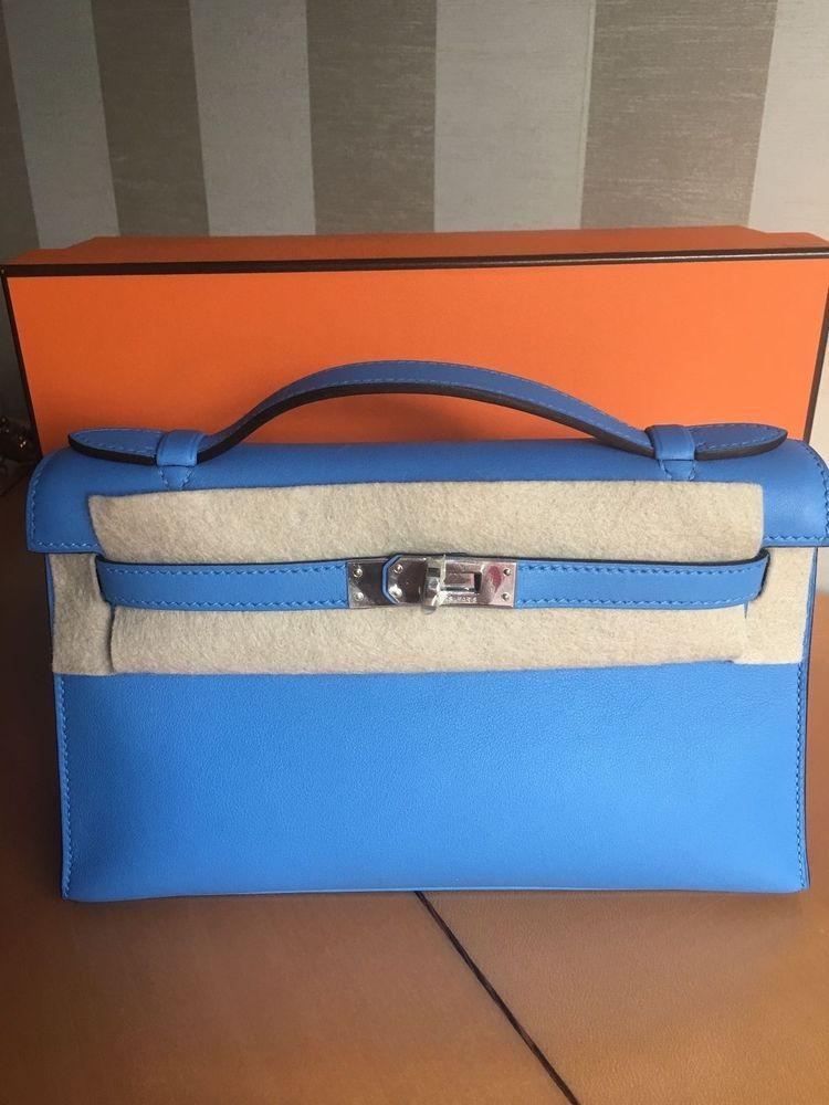 f9d148f2bc Hermes Kelly Pochette Blue Paradise Clutch Bag Purse