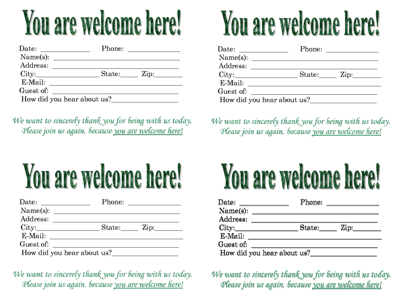 Church Quotes For Welcoming Guests Quotesgram Within Church Visitor Card Template Card Template Church Quotes Business Template
