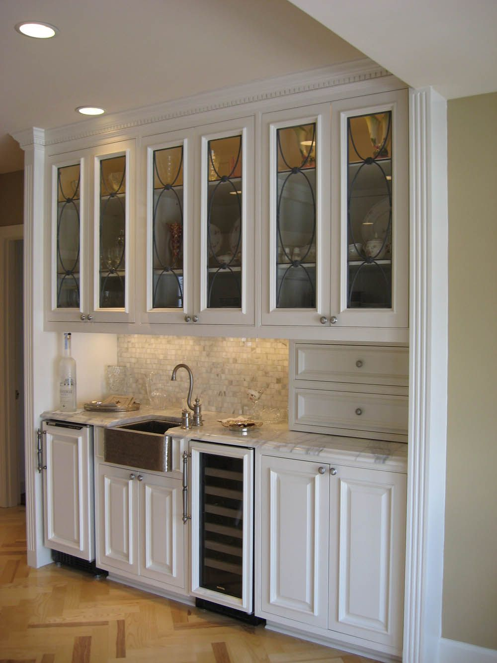 Custom Wet Bar I Love The Baby Size Farmhouse Sink And The Glass Detailing On The Cabinets This Small Farmhouse Sink Basement Bar Designs Residential Remodel