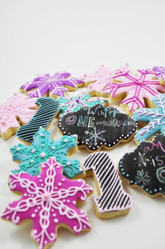 Winter Wonderland Pink, Purple and Blue Snowflake Cookies - 1 Dozen -decorated sugarcookies - number one birthday- Personalized - custom
