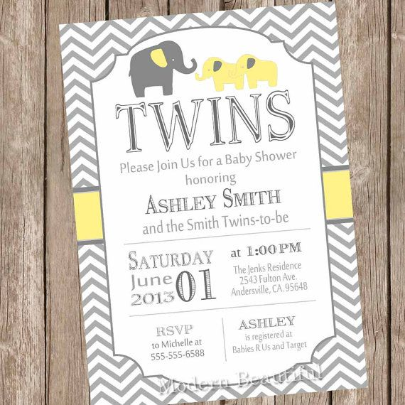 Twins Elephant Baby Shower Invitation Gender Neutral Yellow And