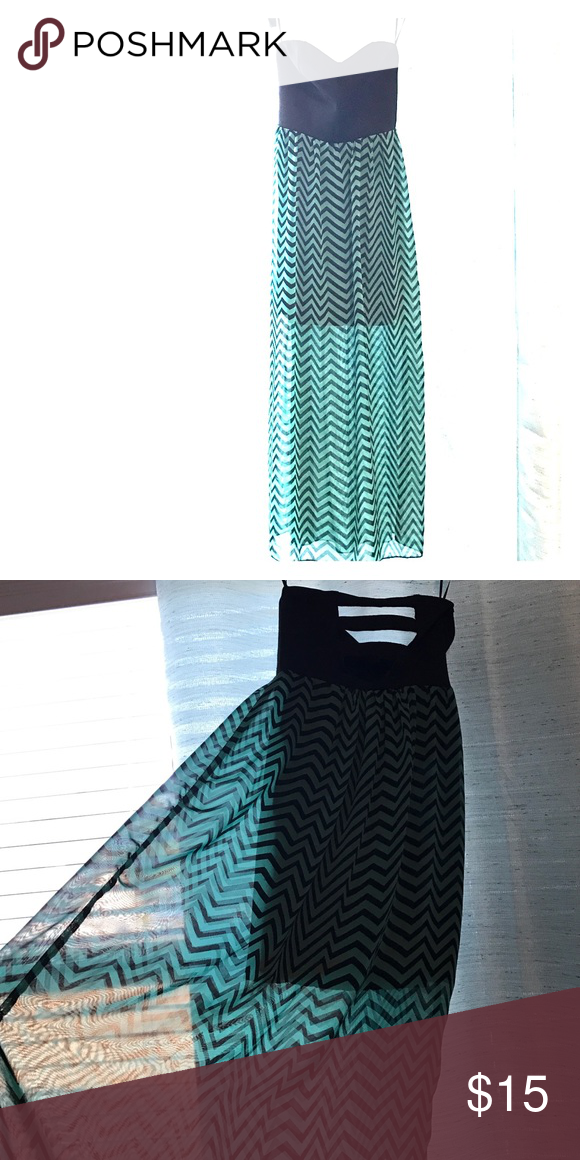 SEXY Black/Teal Strapless Dress - Medium Sexy sweetheart style long black and teal flowy sheer dress with cut out back. Full dress until mid-thigh, sheer chevron fabric from there down. Dresses Strapless
