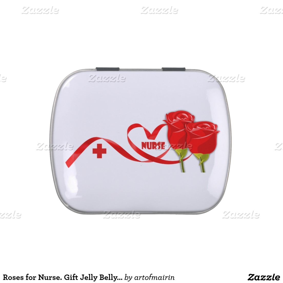 Red Rose design tins Nurses Day / Nurses Week / Nurse Appreciation / Graduation from Nursing School / Birthday / Any Occasion Gift Jelly Belly Candy for nurses. Matching Cards in various languages, postage stamps and other products available in the Business Related Holidays / Healthcare Category of the artofmairin store at zazzle.com