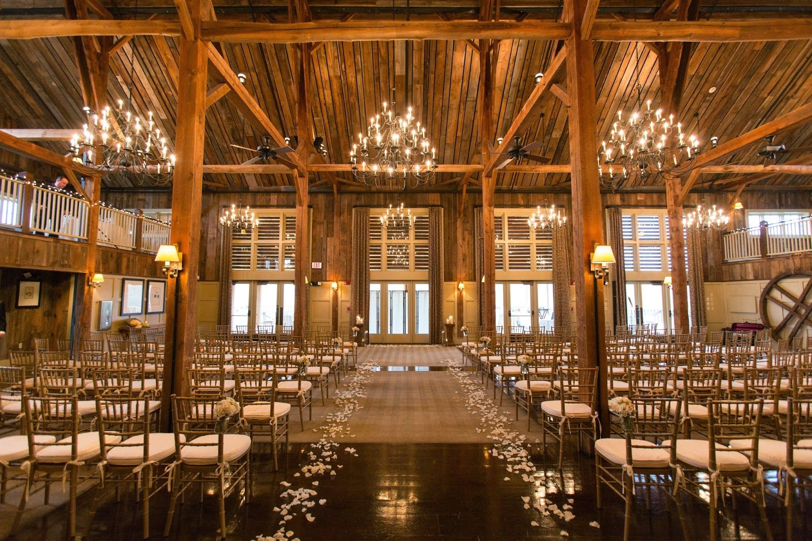 An Indoor Rustic Ceremony: Les Fleurs : Barn At Gibbet Hill : Indoor Ceremony : Barn