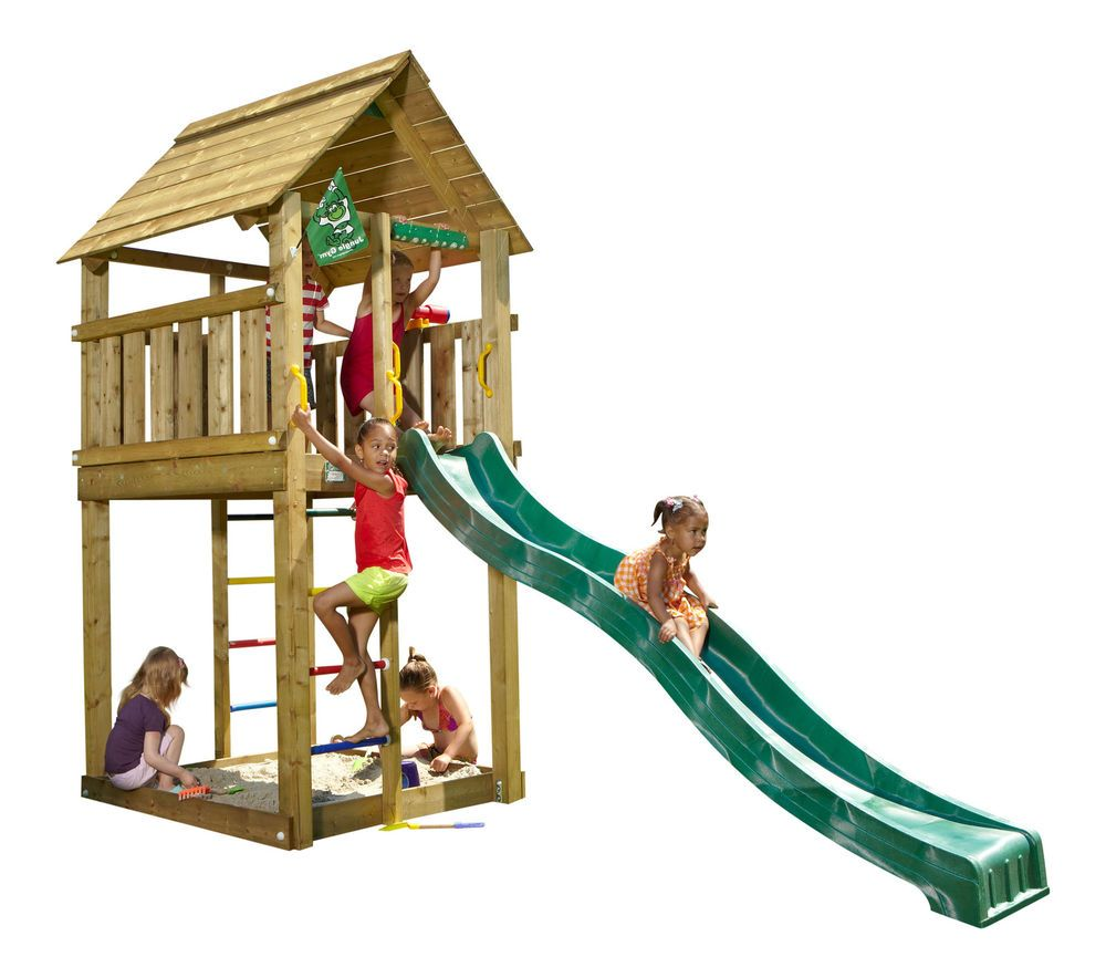jungle gym spielturm cabin kletterturm mit rutsche spielhaus baumhaus holzhaus spielt rme. Black Bedroom Furniture Sets. Home Design Ideas