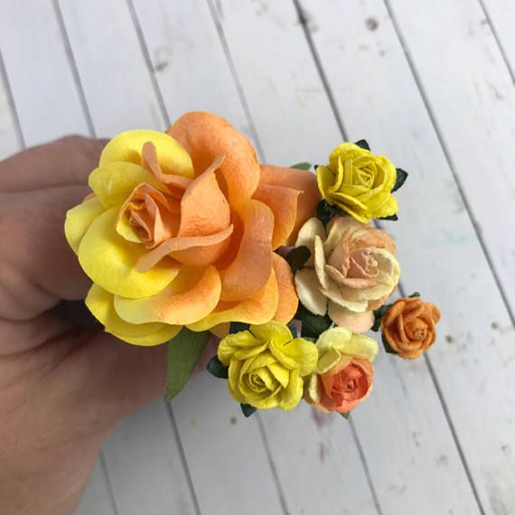Orange And Yellow Flower Hair Pins For Weddings, Prom