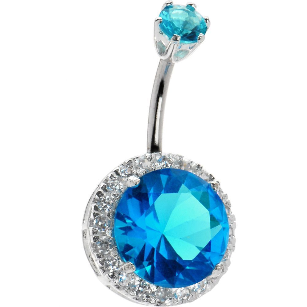 Sterling Silver 925 Passion Aqua Cubic Zirconia JEZEBEL Belly Ring