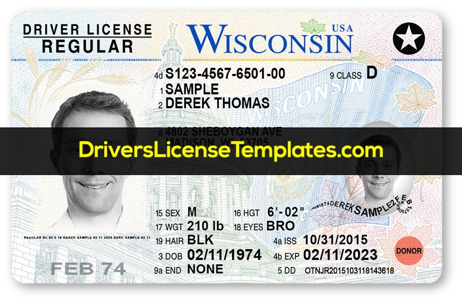Wisconsin Drivers License Template Psd Download Drivers License Templates Id Card Template