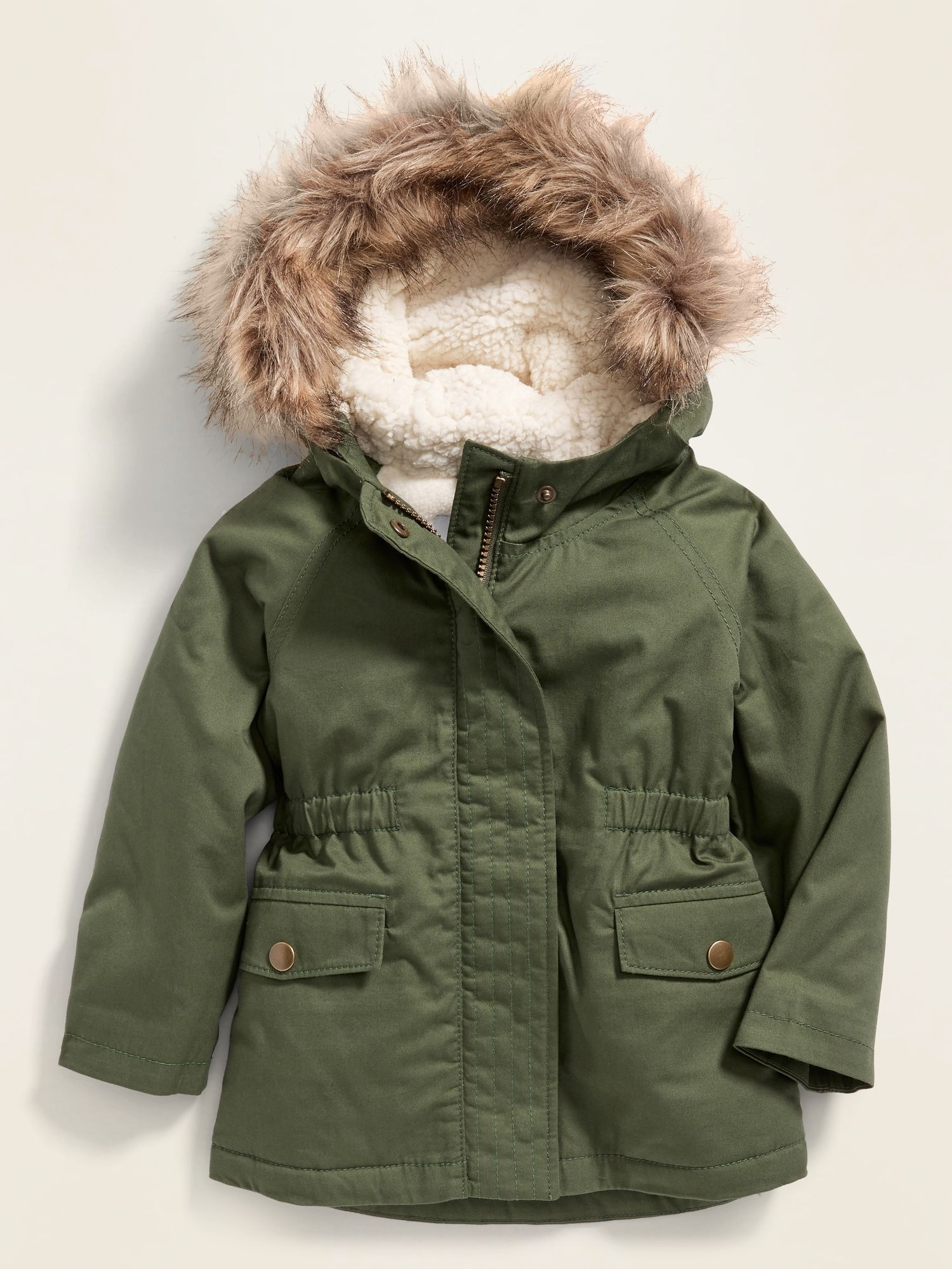 Hooded Faux-Fur Trim Twill Parka for Toddler Girls | Old ...