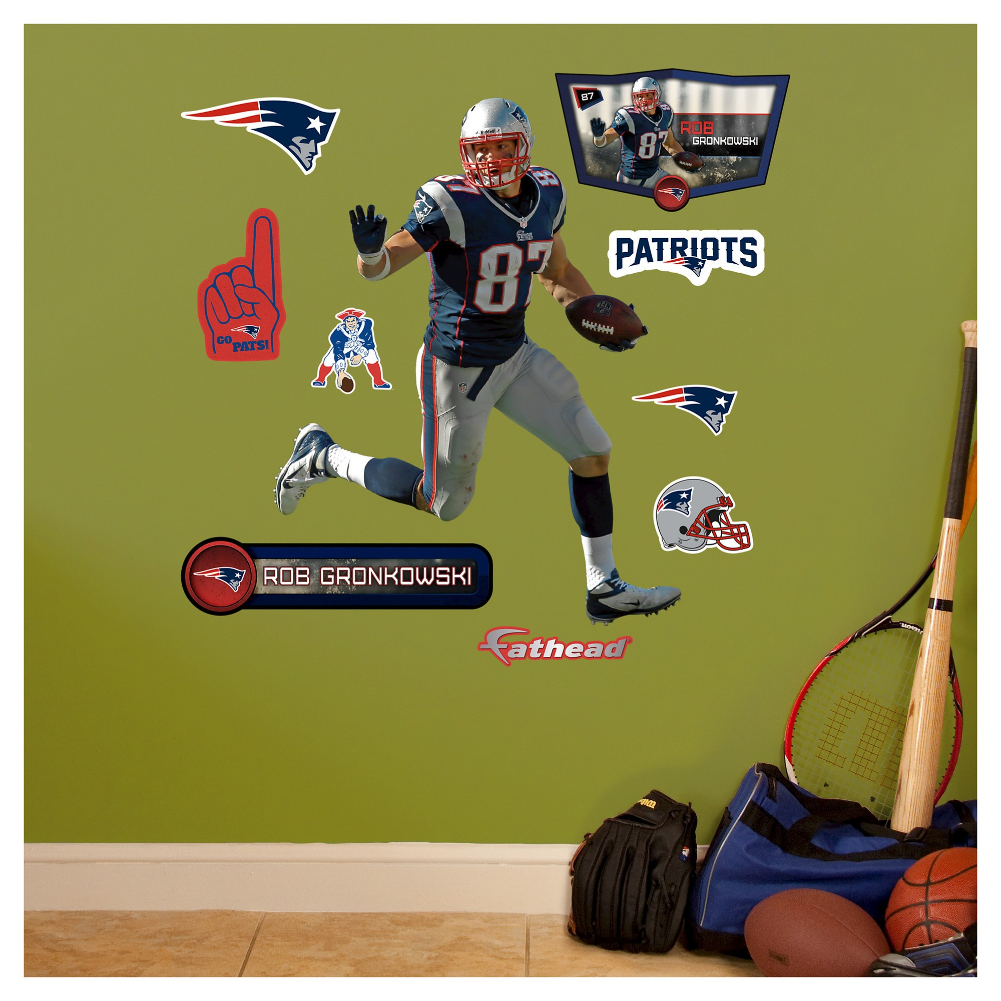 New England Patriots Fathead Decorative Wall Art Set - 40x3\