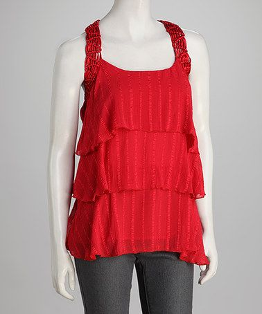 Take a look at this Persimmon Tiered Chiffon Sleeveless Tunic by Panitti on #zulily today! $21.99, regular 58.00