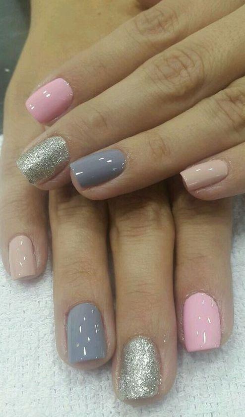 Fantastic Gray And Pink Nail Polish Toe Nails Toe Nail Designs Pink Nails
