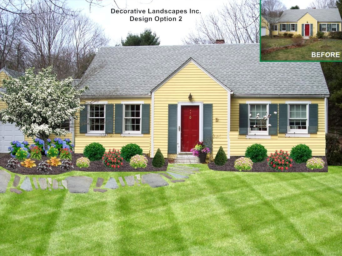 Landscaping ideas front yard cape cod house the garden for Low maintenance lawn design