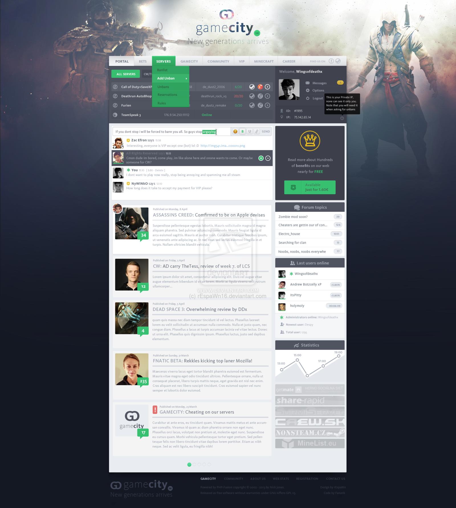 Flat gaming design by ~rEspaWn16 on deviantART #webdesign | Web ...