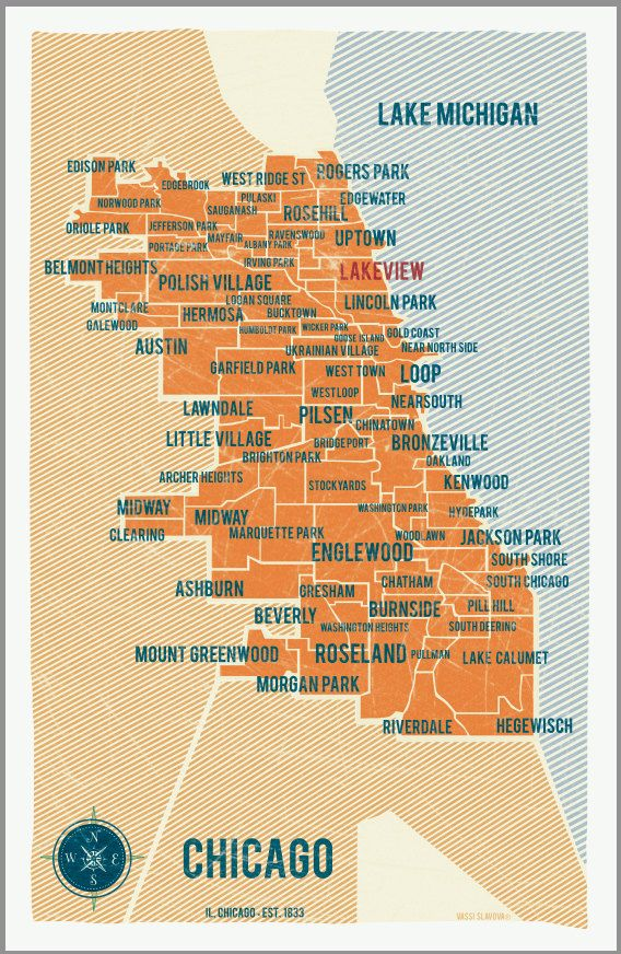 West Town Chicago Map.City Of Chicago Map Poster In Orange Vintage Style Poster 11x17