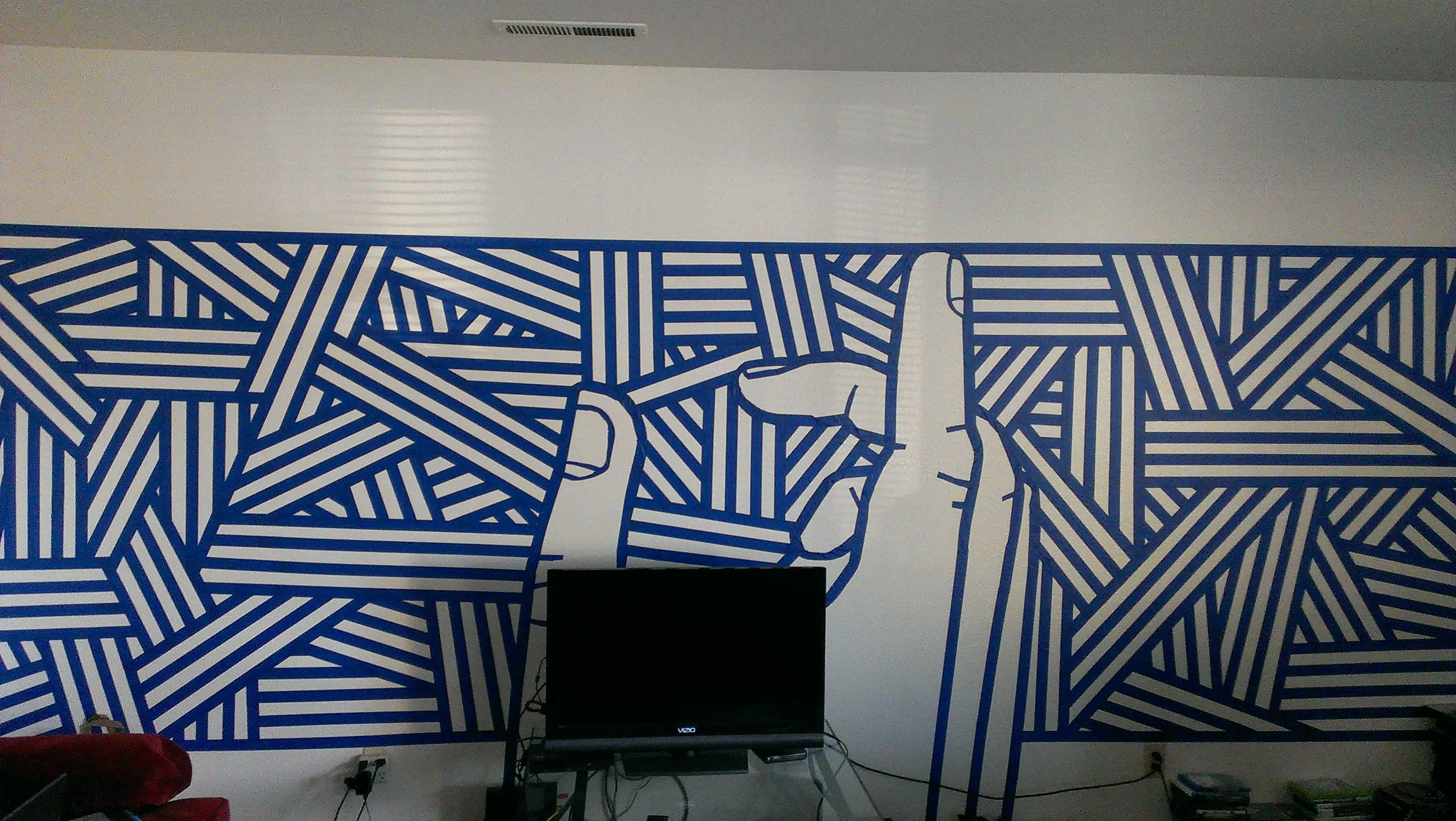3 rolls of blue tape 6 hours and boredom and now i have for Easy wall mural