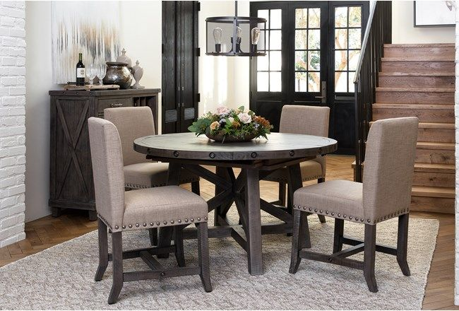 67430f708a Jaxon Grey 5 Piece Round Extension Dining Set W/Upholstered Chairs - 360