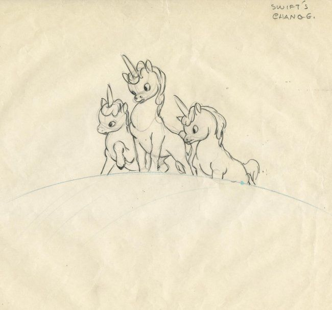 disney s fantasia unicorns 626 original prod drawing of unicorns from fantasia lot 626