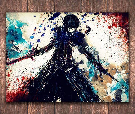 SAO Wall art digital poster - Kirito Watercolor Poster download,Gift ...