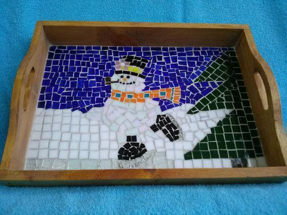 Mosaic Tray Serving Gl Tile Art Mixed Media Snowman Winter Scene Breakfast Wood