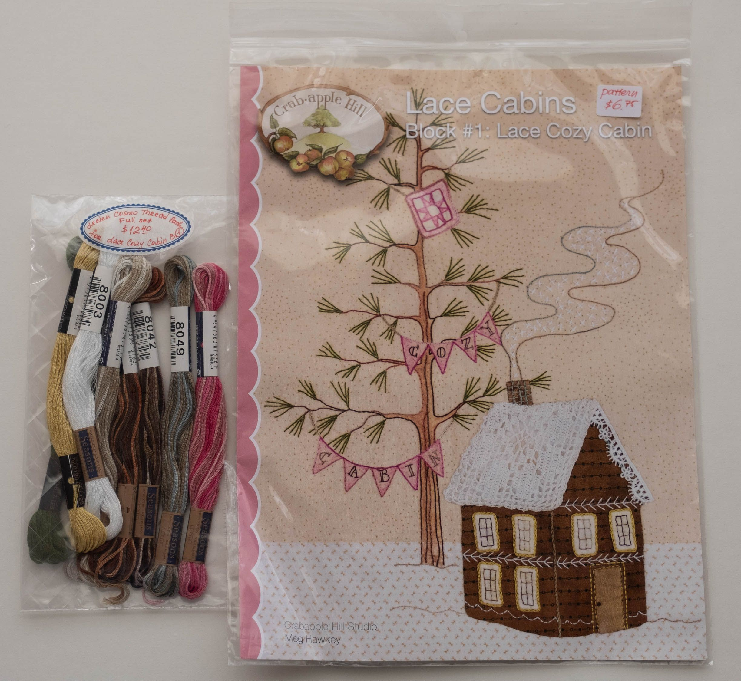 COSMO Embroidery Floss Pack from Lecien, Japan, for the Pattern of Block 1, Lace Cozy Cabin by Meg Hawkey for the Crabapple Hill Designs