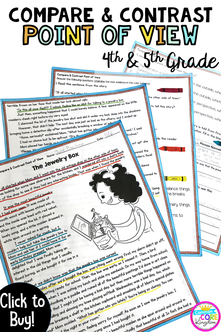 Compare Contrast Point Of View 4th 5th Grade Rl 4 6 Rl 5 6 4th Grade Reading Elementary Reading Teaching Reading [ 1152 x 768 Pixel ]