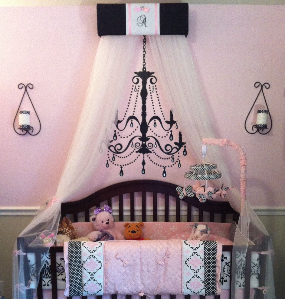 PERSONALIZED Canopy Crown Crib Nursery Teester SaLe Black Pink Princess Embroidered & PERSONALIZED Canopy Crown Crib Nursery Teester SaLe Black Pink ...