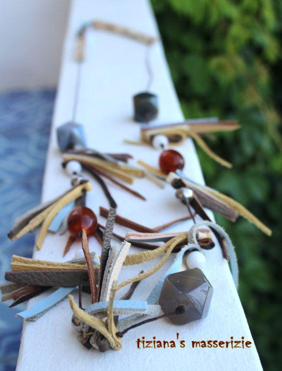 Collana lunga  pelle /collana naturale con di TizianaSmasserizie