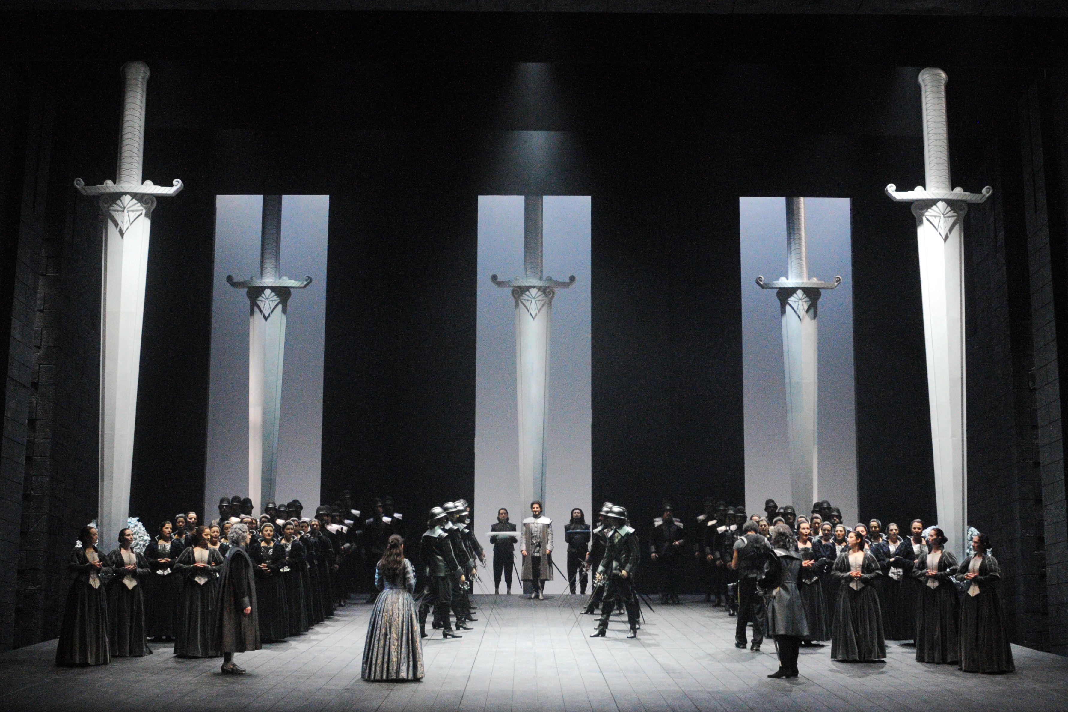 I Puritani at the Teatro Comunale di Bologna. Production and designs by Pier'Alli.