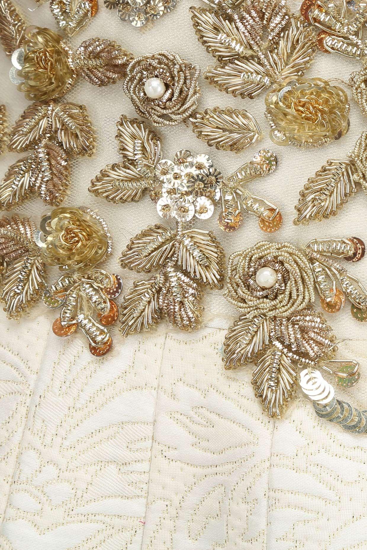 Amit Sachdeva   Stunning cream and gold zardosi work on this garment ...
