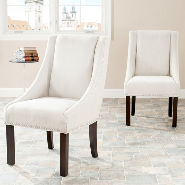 Safavieh Sloping Arm Beige Polyester Nailhead Dining Chairs (Set Of