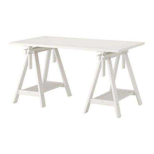 ikea klimpen finnvard table white plenty of room on the shelf under the trestle for your printer books or papers that keeps your table top clear