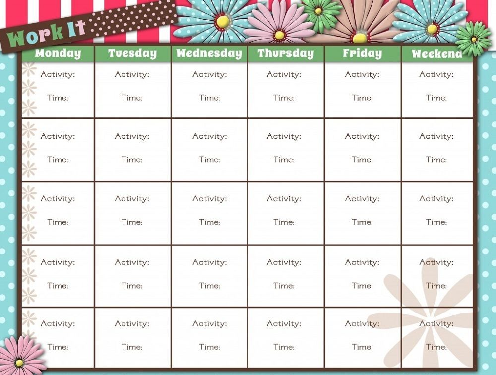 Printable Workout Calendar | Activity Shelter | Calendar Template