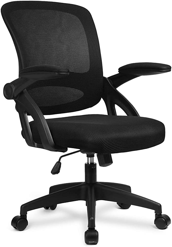 Amazon Com Desk Chair Ergonomic Office Computer Chair Mesh Computer Chair With Flip Up Arms Lumbar Black Office Chair Home Office Chairs Mesh Computer Chair