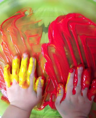 Edible finger paint recipe:  1 cup Corn Flour (Corn Starch)  1 cup Cold Water  3 cups Boiling Water   Liquid Food Colouring