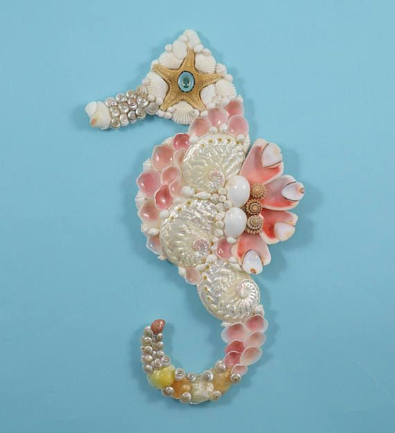 Seahorse Wall Decor Seahorse Shell Art Beach Decor Coastal