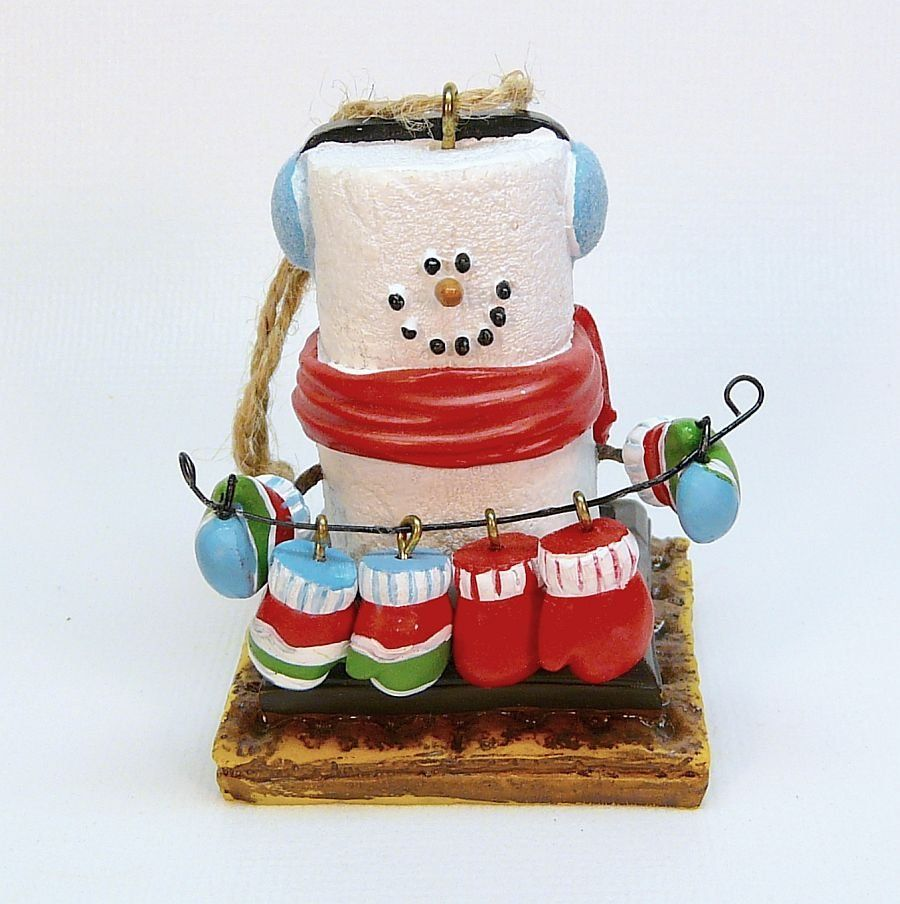 S mores ornaments - S Mores Smores Snowman With Mittens Christmas Ornament