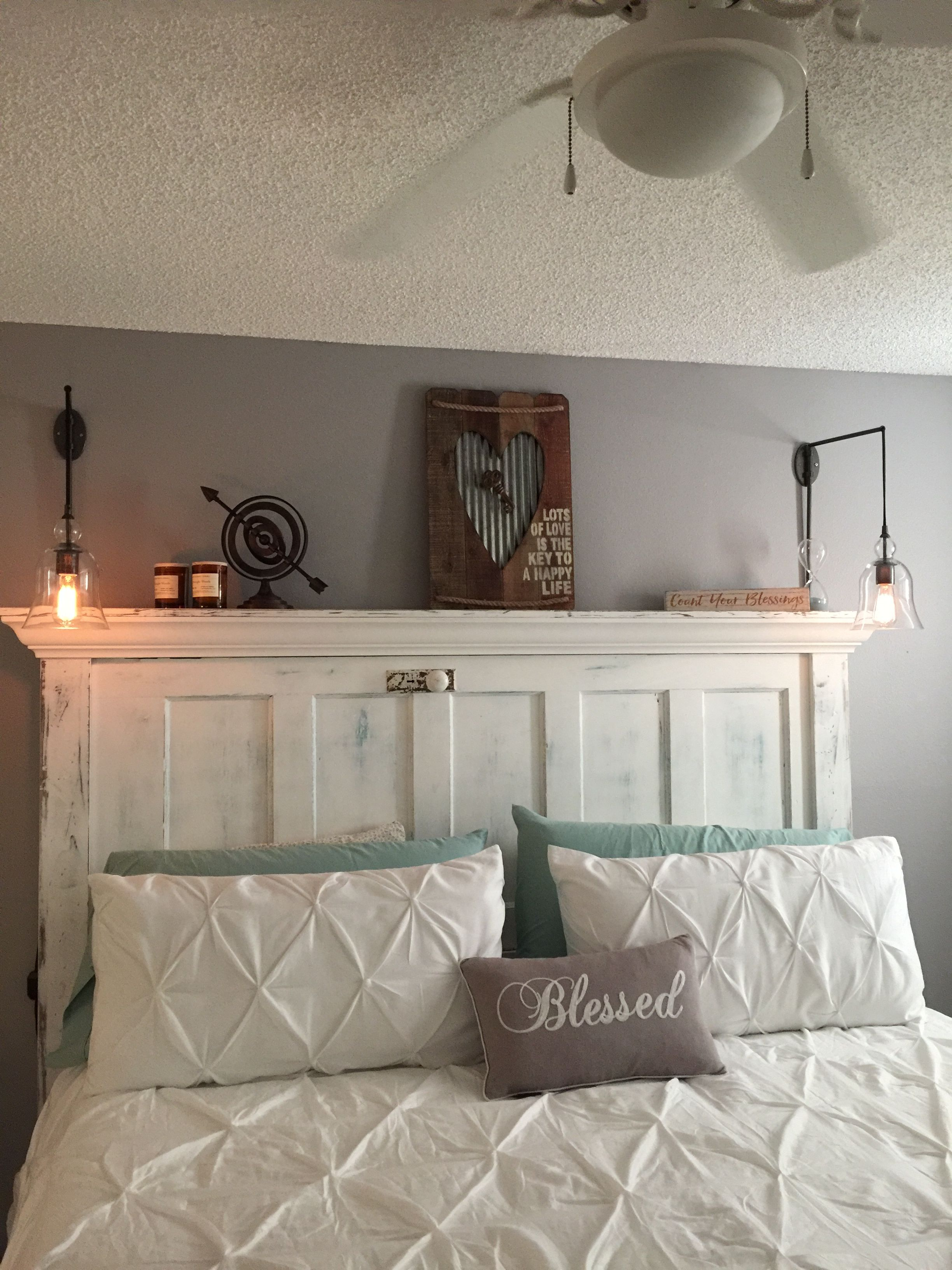 1930 39 s door turned into a beautiful king headboard for our - King size headboard ideas ...