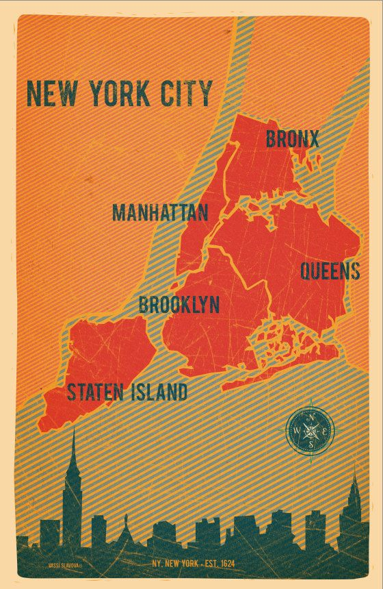 NYC Boroughs Map in Red Vintage Style Print 11x17 by VassiSlavova