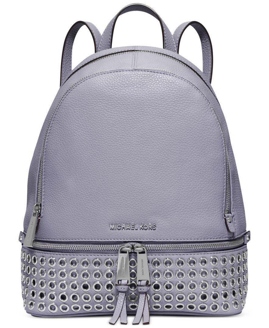 ee4b1e8d0167 Michael Michael Kors Rhea Zip Grommet Medium Backpack Studded Backpack, Studded  Bag, Leather Backpack