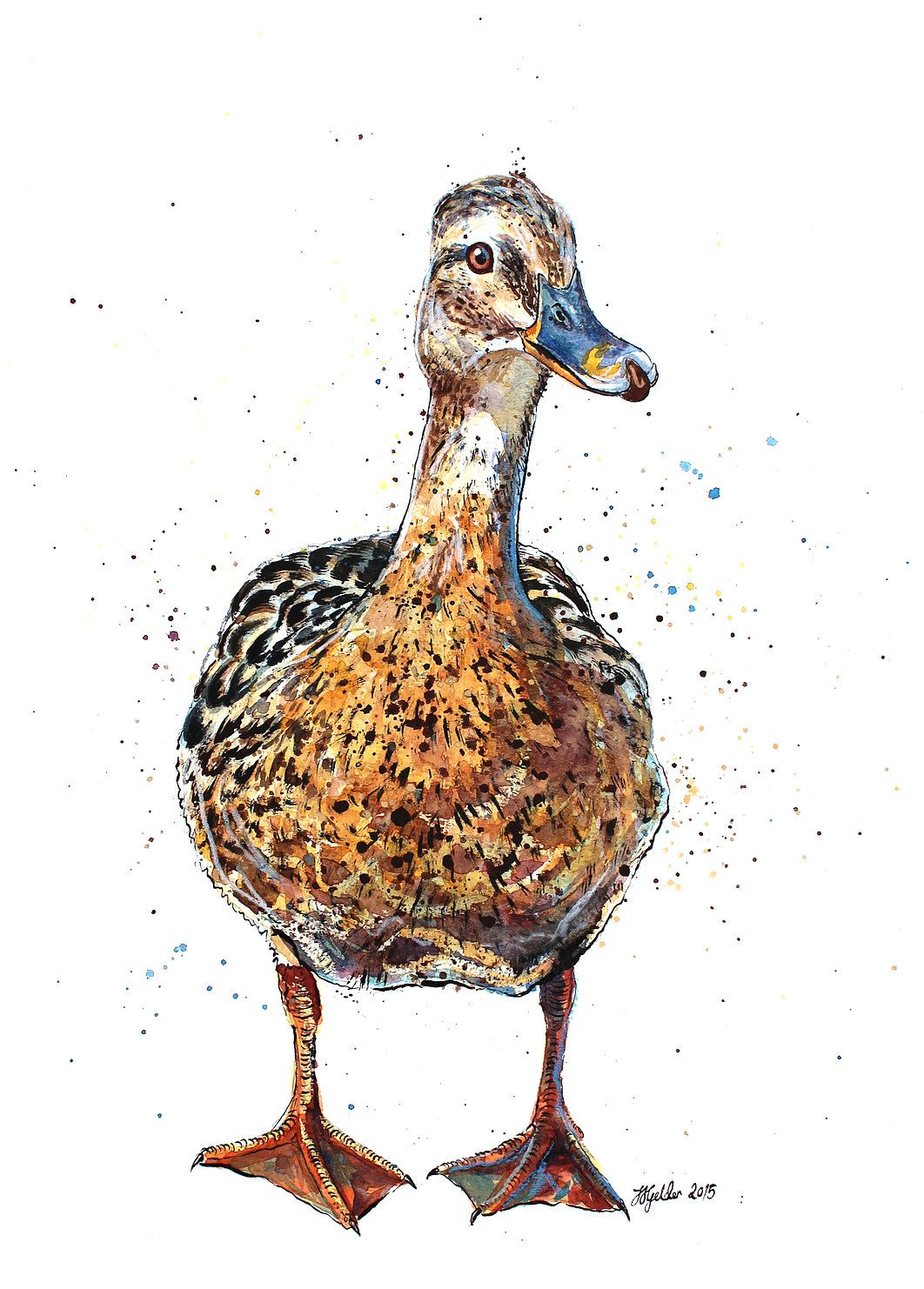 Puddle Animal Art Birds Painting Drawings