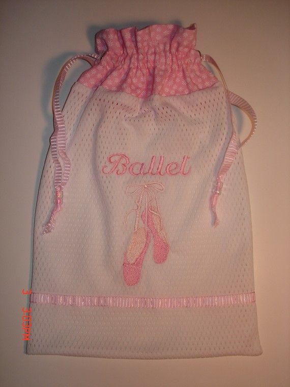 Mesh pointe ballet dance shoe bag with embroidered pointe shoes and the  word