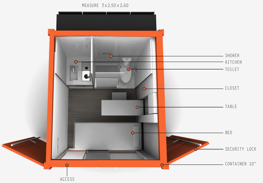 natto - micro shipping container home design concept - schematic