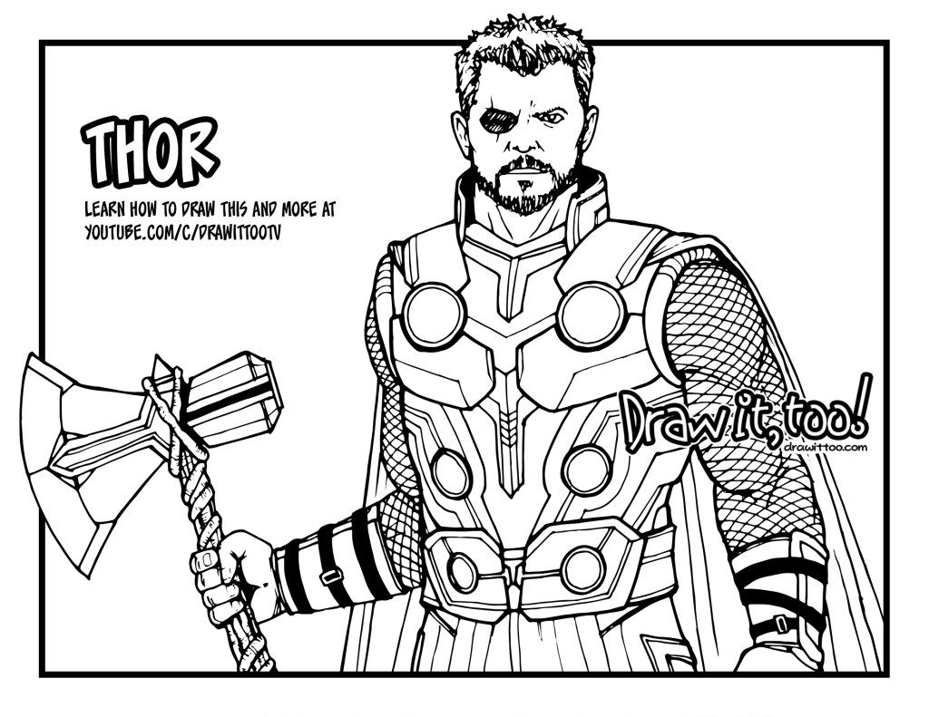 How To Draw Thor How To Draw Thor Step By Step Avengers Coloring Pages Superhero Coloring Avengers Coloring